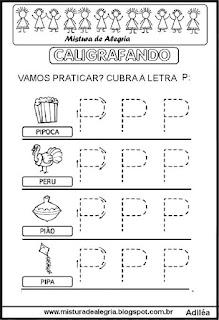 Caligrafando letra P pontilhada