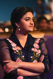 Actress Keerthi Suresh Stills in Blue Long Dress at Nenu Local Audio Launch  0011.JPG