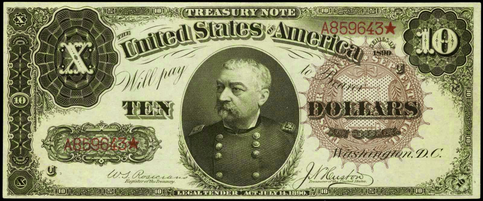 US currency Ten Dollar Treasury or Coin Note 1890