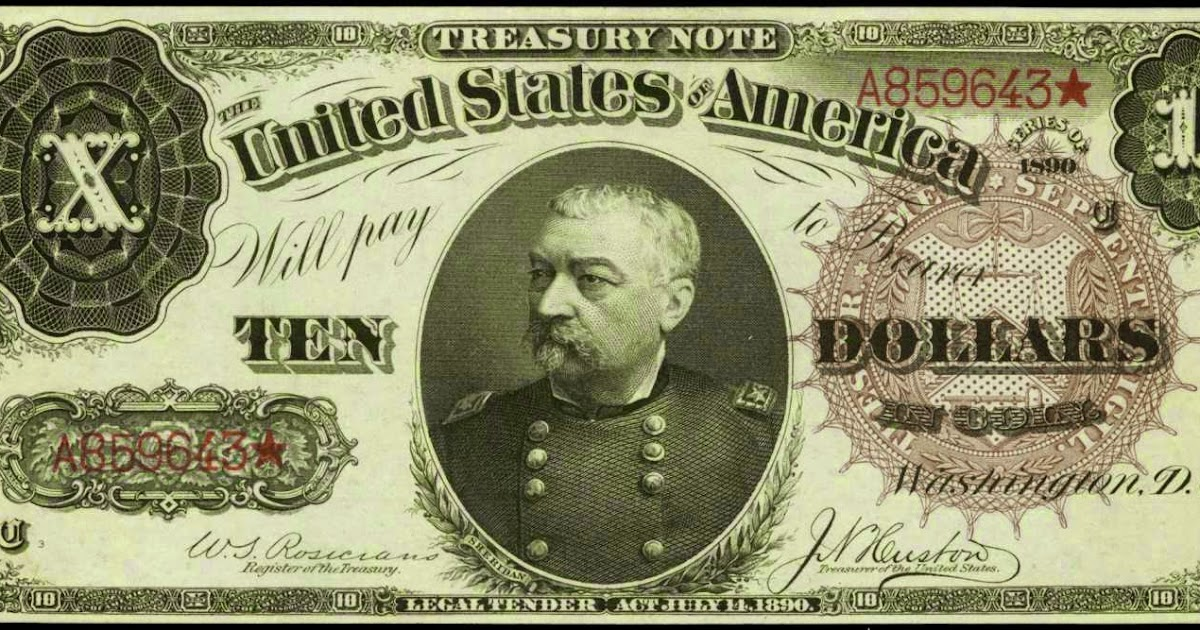 1890 Ten Dollar Treasury Or Coin Note World Banknotes Amp Coins Pictures Old Money Foreign
