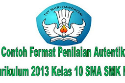 Contoh Format Penilaian Autentik Kurikulum 2013 Kelas 10 SMA SMK MA