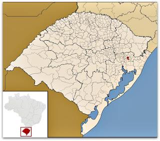 Cidade de Sapiranga, no mapa do Rio Grande do Sul