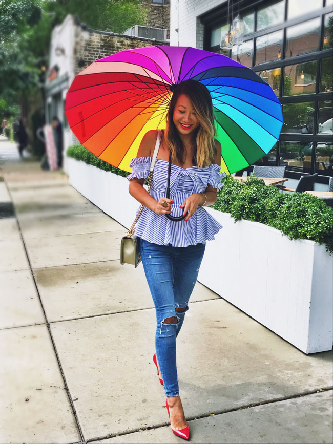 Rainbow Umbrella, Stripe Peplum Top, Summer House Santa Monica, What to wear for Spring in Chicago, Chicago STyle in Spring