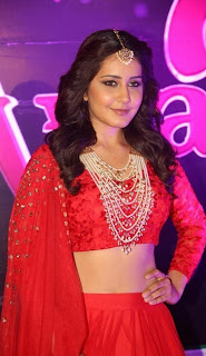 Actress Rashi Khanna Stills in Red Lehenga Choli at Apsara Awards 2016  0009.jpg