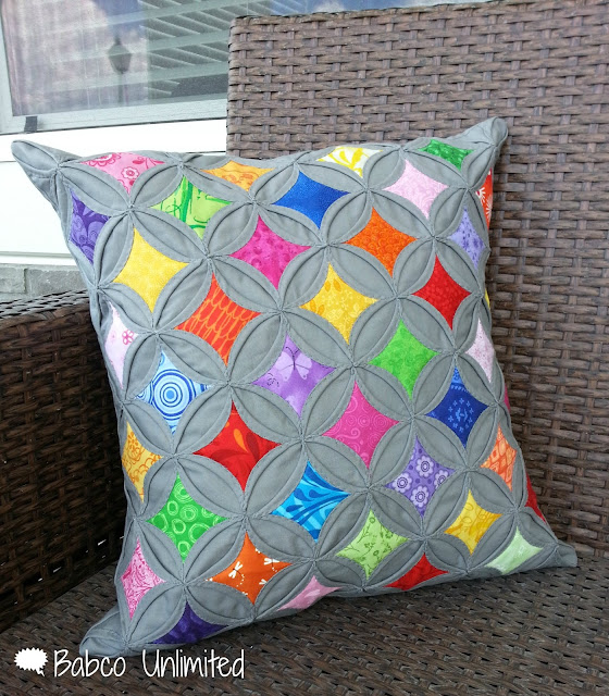 BabcoUnlimited.blogspot.com -- Modern Cathedral Windows Quilt Pillow