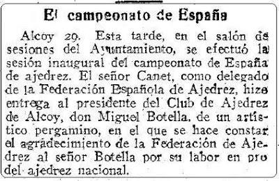 Recorte ABC sobre ajedrez - 30 de abril de 1955