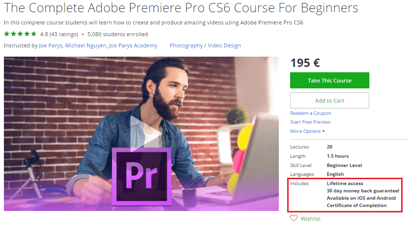 Adobe Premiere Video Editing Online Course
