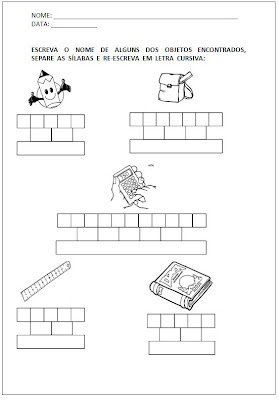 Atividades para Alfabetização - Escreva o nome e separe as sílabas 3