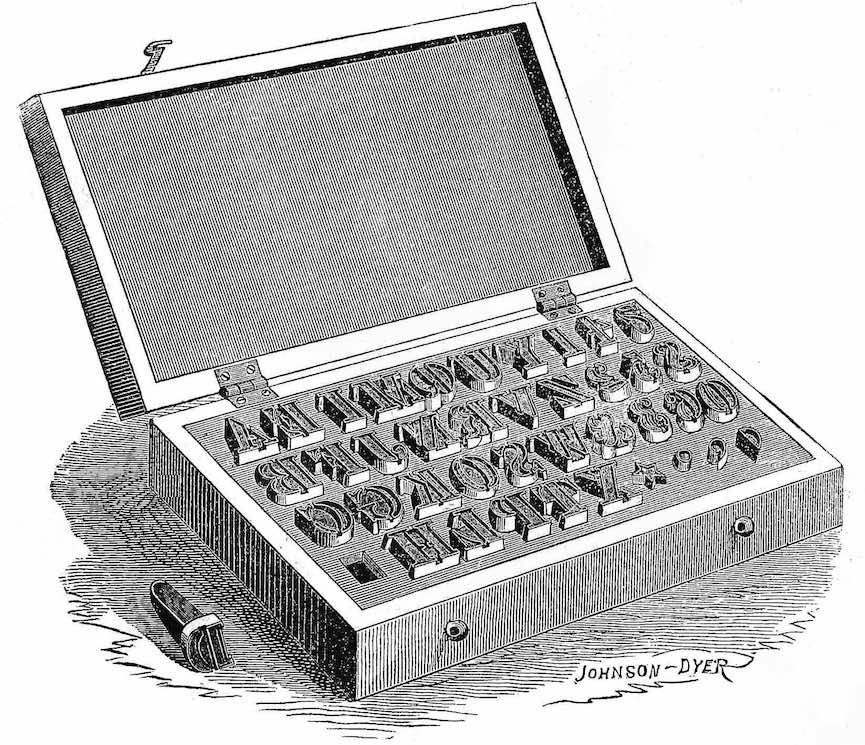 from an 1873 printing supply catalog,  metal typesetting characters