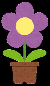 鉢植の花のイラスト(紫)