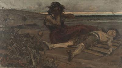 pintura de mujer llorando frente a cadaver
