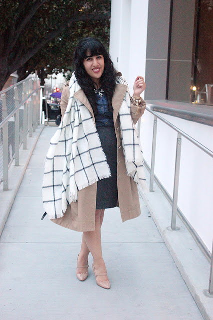 Express Checkered Blanket Scarf Classic Trench, Pencil Skirt and Mary Jane Heels