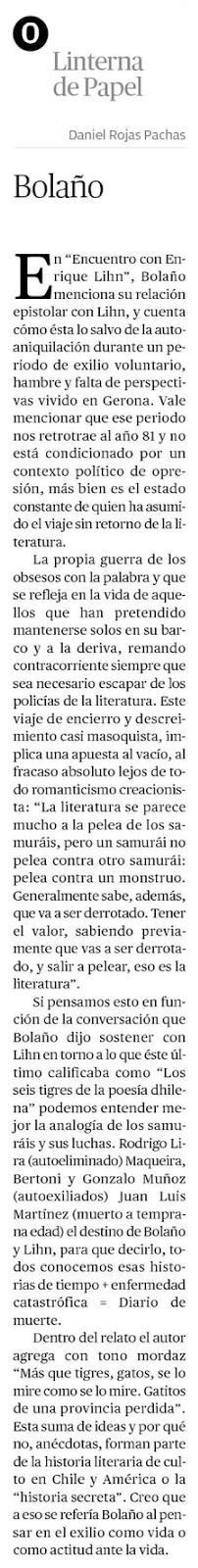 Lihn citado en artículo sobre Bolaño en la Linterna de papel del Mercurio de Antofagasta