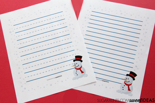 Bold lined paper and a modified paper Christmas handwriting pack