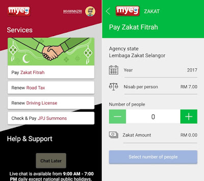 Aplikasi MyEG Membolehkan Pengguna Membuat Bayaran Zakat Fitrah