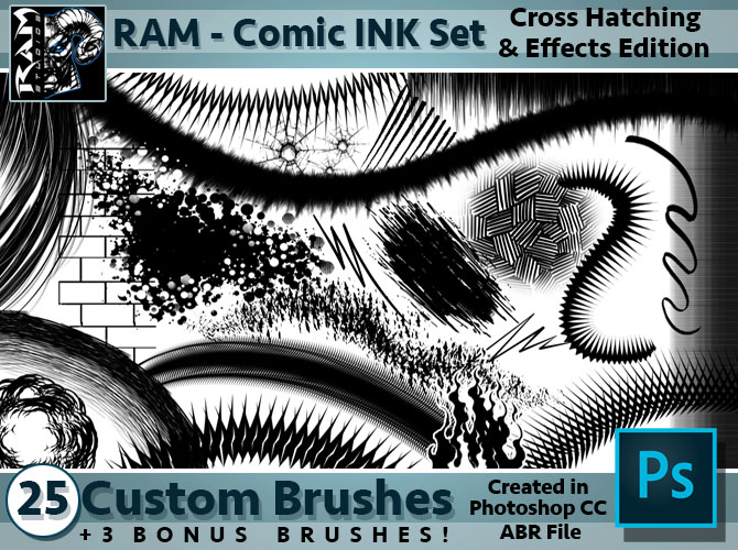 Ram Studios Comics Comic Book Inking Brushes For Photoshop Cc By Ram