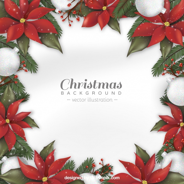 Christmas background with realistic flowers Free Vector