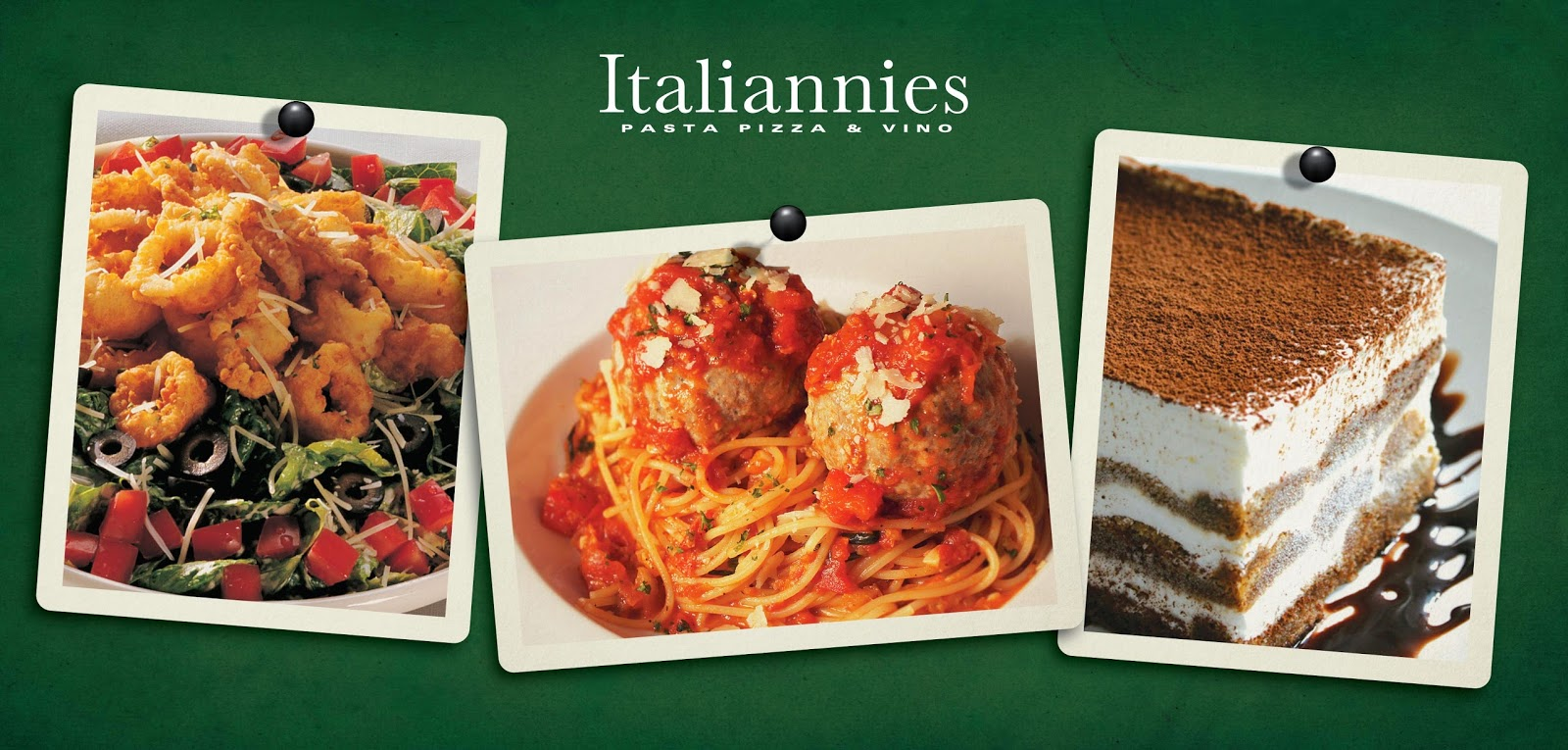 Calamari Caesar, Spaghetti & Meatball and also Tiramisu-  Italiannies Sundown Buffet
