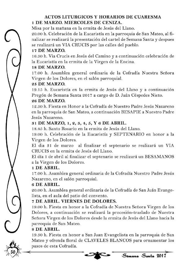 Programa, Horarios e Itinerarios Semana Santa Baños de la Encina (Jaén) 2017
