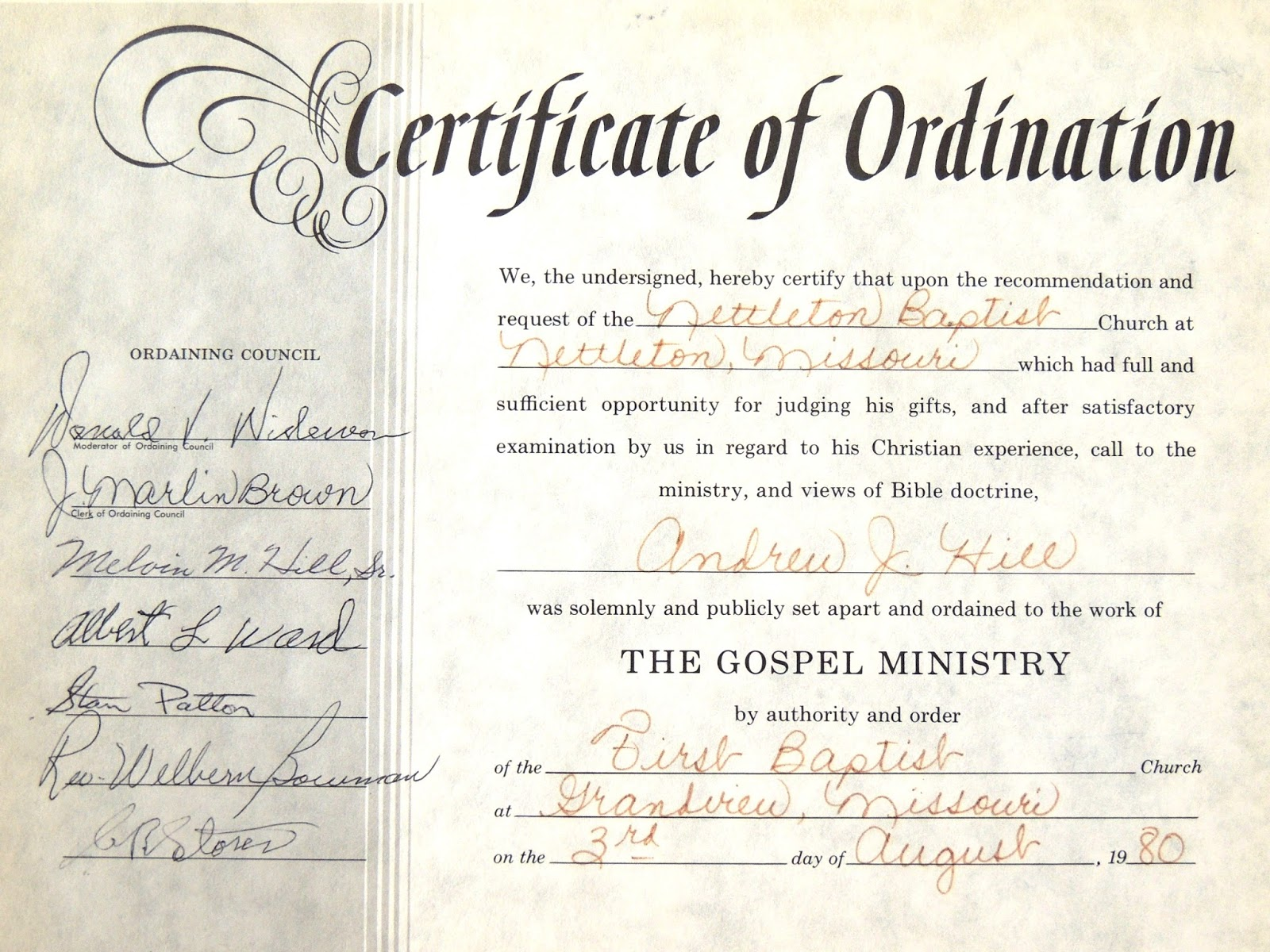 Baptist ordination for minister related keywords baptist for Deacon ordination certificate template