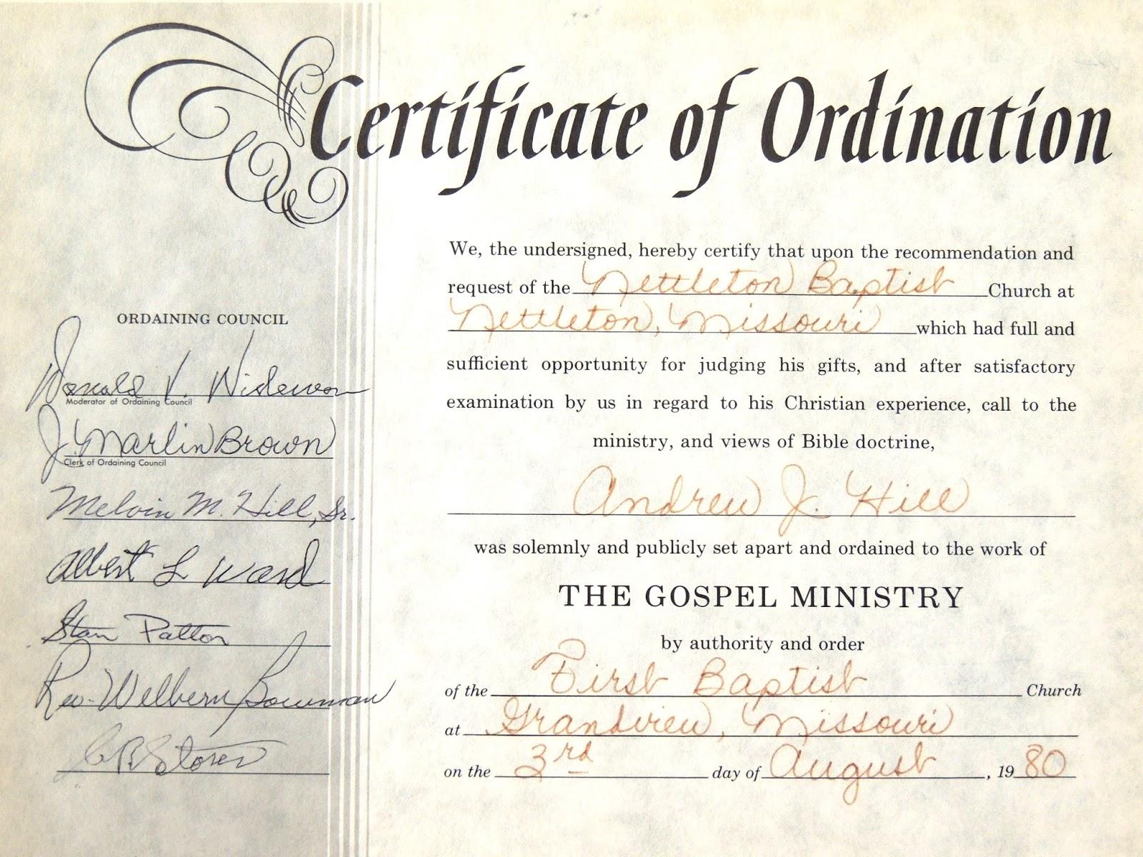 certificate ordination ordained apart drew coffee