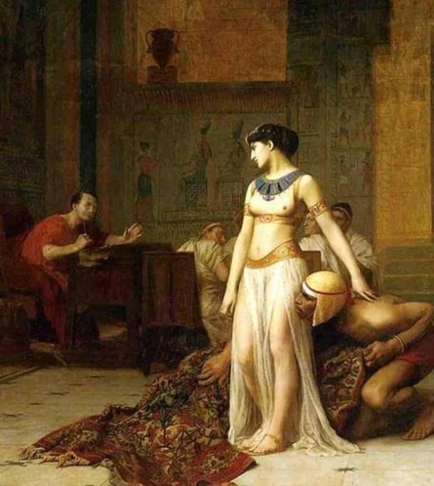 Cleopatra și Cezar by Jean-Leon-Gerome, 1866. (Public Domain)