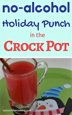 Fun & Festive holiday punch recipe for the crockpot slow cooker that has no alcohol whatsoever. Enjoy!