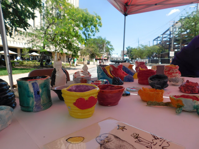 Pottery for adoption at Lakewood Arts Festival