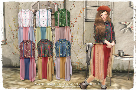 {amiable}Flower Shirt & Suspender Tulle One-piece