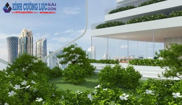 Thiết kế tòa tháp kính tự sản sinh năng lượng trồng cây xanh ở mỗi tầng