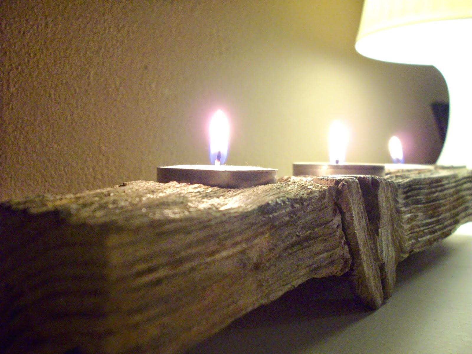 come creare dal legno vecchio un portacandele