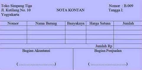 Pengertian dan bentuk Nota sebagai bukti transaksi