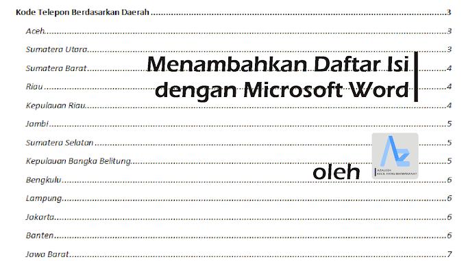 Menambahkan Daftar Isi dengan Microsoft Word