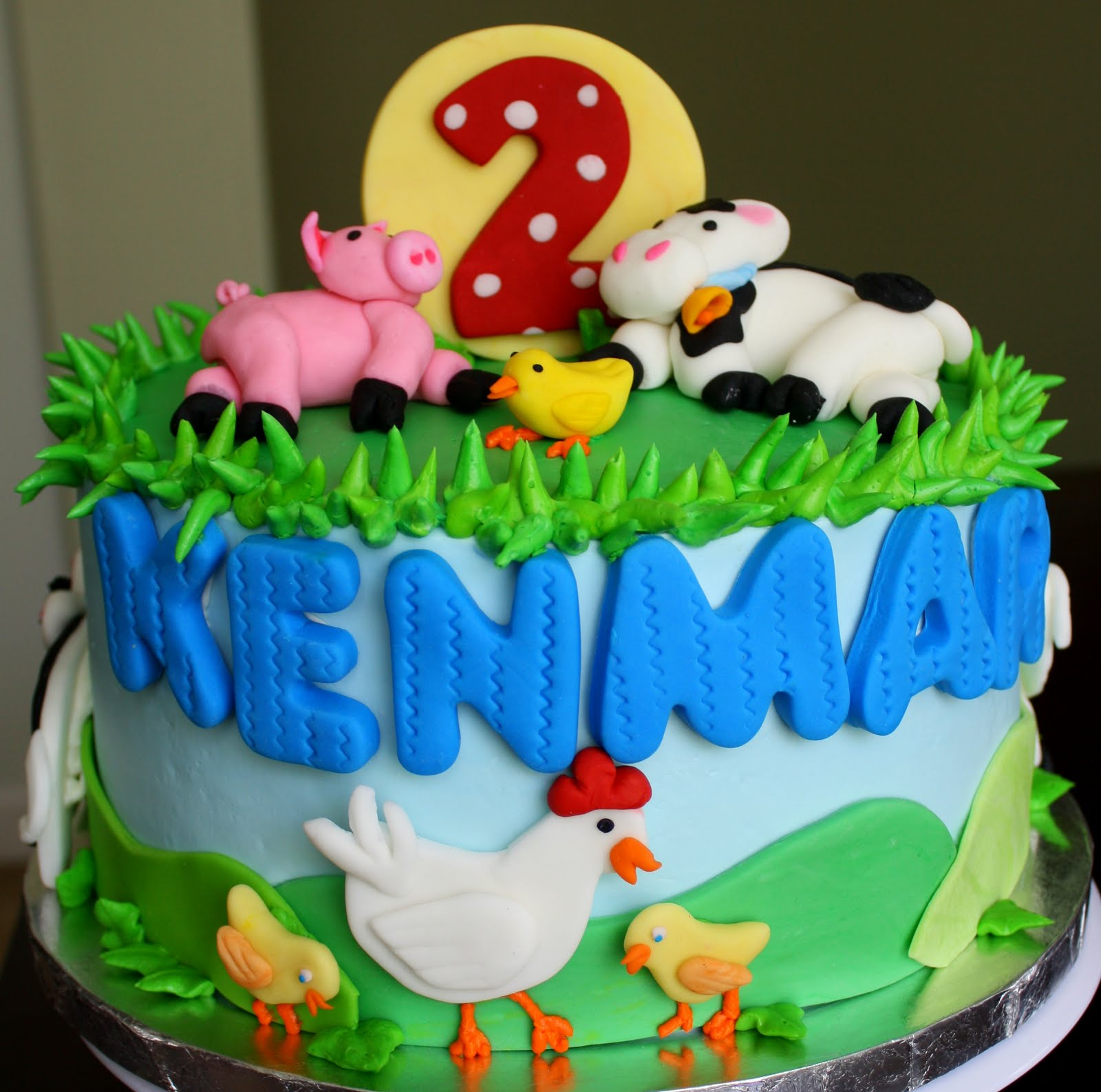 Claudine Farm Animal 2nd Birthday Cake And Cookies