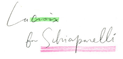 Lacroix for Schiaparelli handwriting handlettering