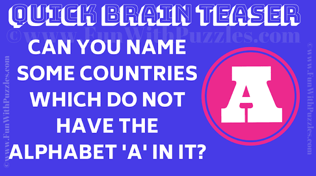 Can you name some countries which do not have the alphabet 'A' in it?