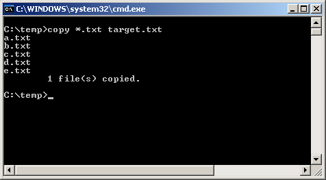 Combine text files into one with single command