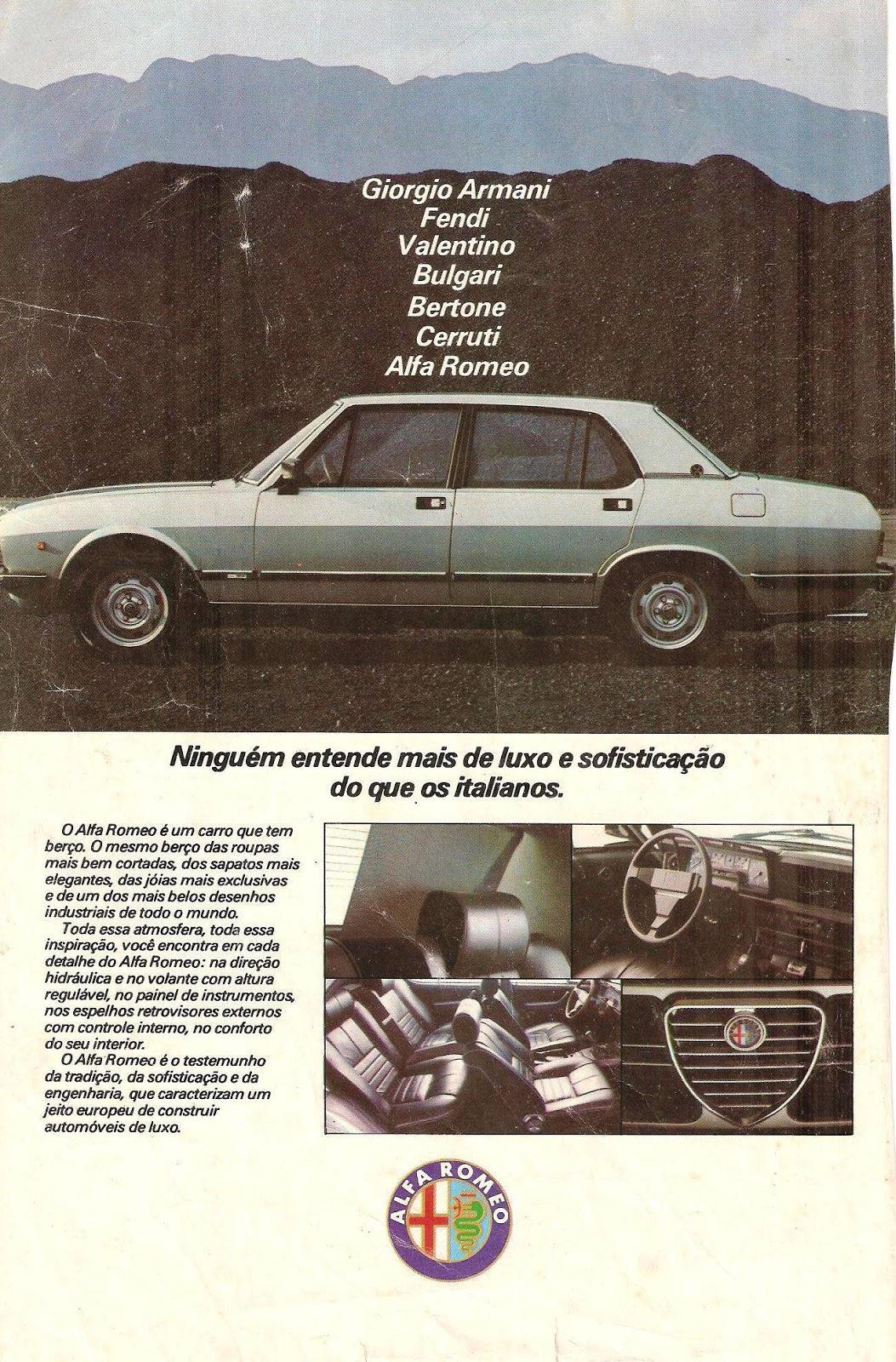 Propaganda antiga do Alfa Romeo 2300 apresentado em 1982