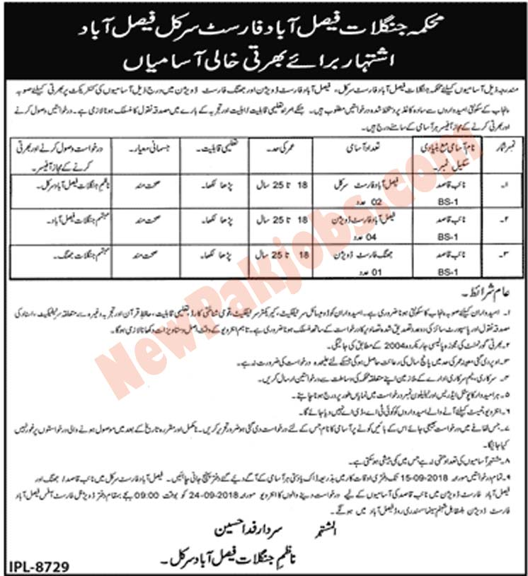 Government jobs in Forest Department Faisalabad