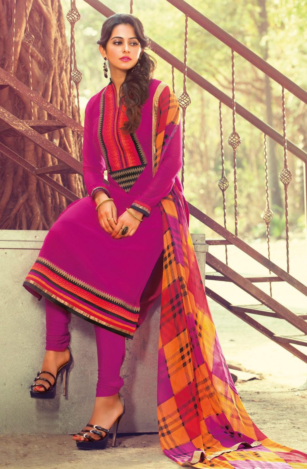 Rakul Preet Singh Pink Colour Georgette Salwar Kameez