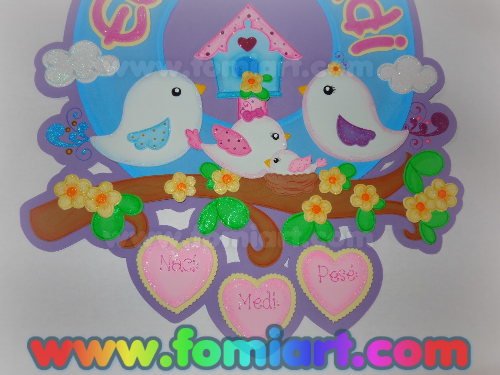 Guirnalda con pajaritos decoraci n de puerta para recien for Decoracion para puertas de preescolar