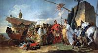 El general romano conoció a Cleopatra cuando, persiguiendo a su rival Pompeyo, llegó a Egipto. En el siglo XVIII, Tiépolo recreó el episodio en esta pintura. Museo Arkhangelskoye, Moscú.