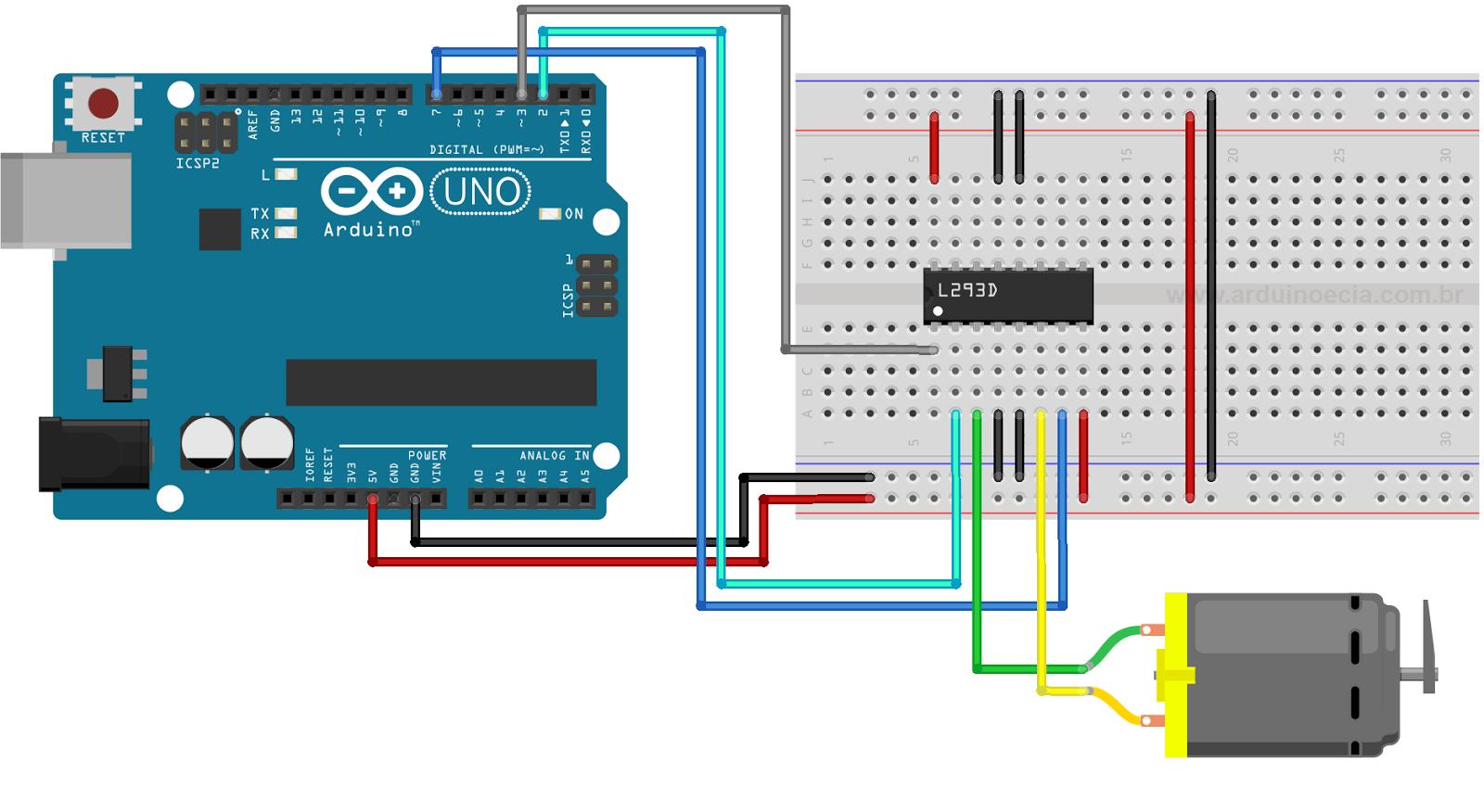 Circuito Motor CC e L293D Arduino