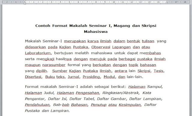 Contoh Format Makalah Seminar I Magang Dan Skripsi Mahasiswa