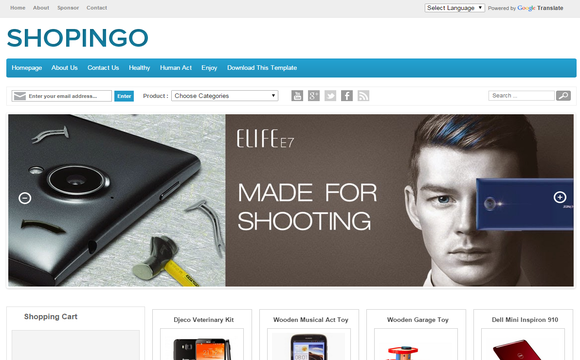 Shopingo free ecommerce blogger template