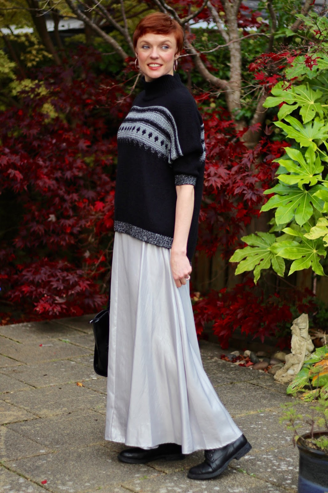 Silver Maxi Skirt & Black Boots | Autumn Style, over 40.