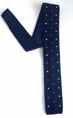 VAN BUCK MULTI COLOURED POLKA DOT NAVY SILK KNITTED SQUARE END TIE