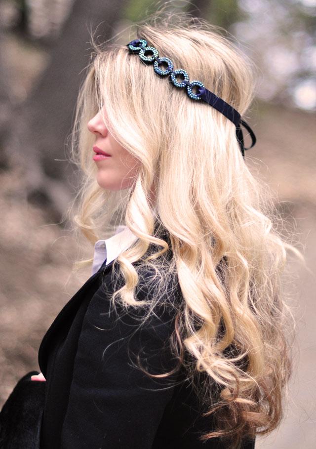DIY hair accessories, headband, long hair