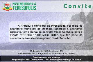 """Convite """"Troféu 1º de maio"""" Teresópolis RJ"""