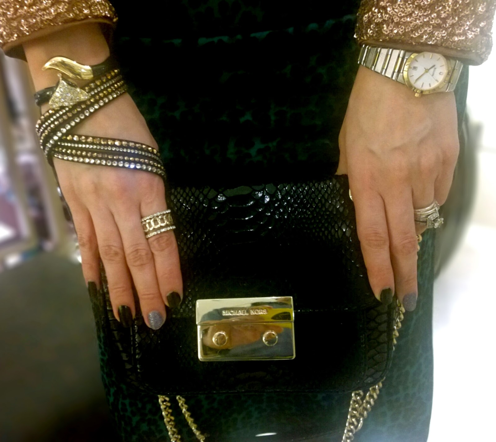 Michael Kors Black Patent Python Small Sloan Shoulder Flap Bag, Swarovski Slake Bracelet